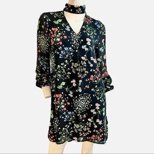 Dahlia black rainbow floral witchy tent dress